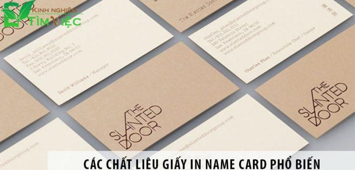 Các chất liệu giấy in name card phổ biến