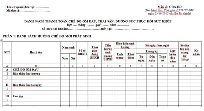 Danh sách đề nghị giải quyết hưởng chế độ ốm đau, thai sản, dưỡng sức phục hồi sức khỏe (Theo mẫu C70a-HD)