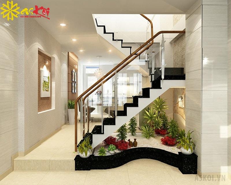 Cầu thang đủ ánh sáng và thoáng đãng có thể làm được bể cá