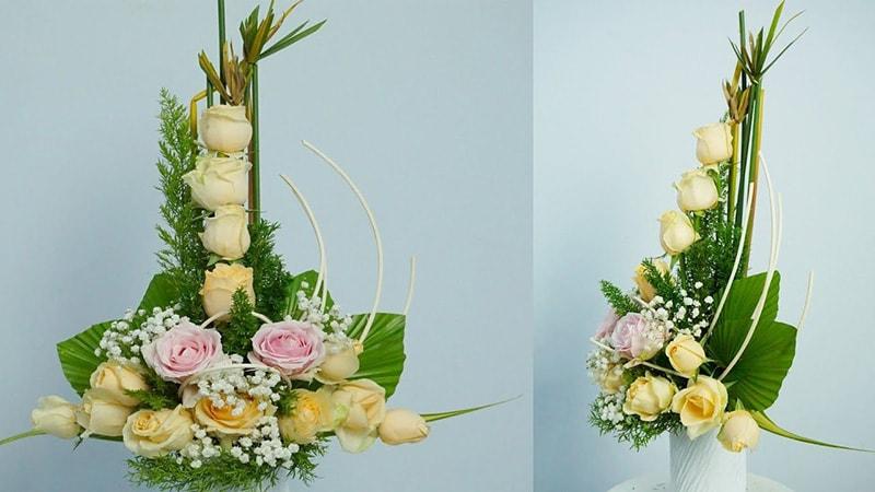 Cắm hoa kiểu chữ T ngược là 1 trong số các thế cắm hoa cơ bản