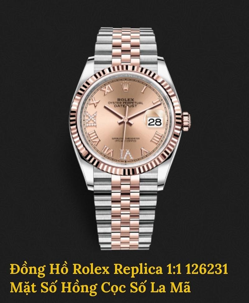 Rolex Replica mặt số hồng cọc số la mã